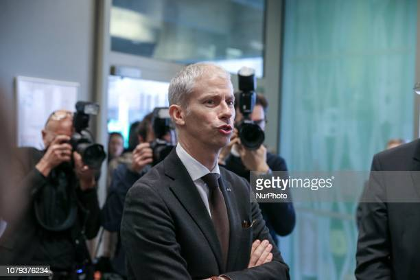 French Culture Minister Franck Riester at the DocksCity of Fashion and Design in Paris on January 08 2019 during a signing ceremony between French...