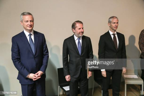 French Culture Minister Franck Riester French Economy Minister Bruno Le Maire and the chief executive officer of French luxury brand Hermes Guillaume...