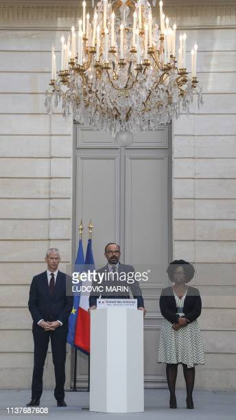 French Culture Minister Franck Riester French Prime Minister Edouard Philippe and French Junior Minister and Government's spokesperson Sibeth Ndiaye...
