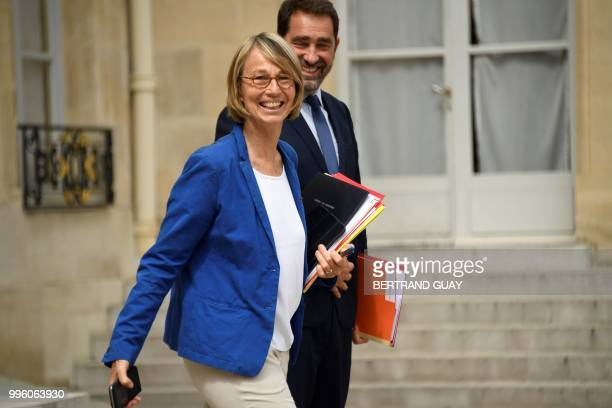 French Culture Minister Francoise Nyssen and French Junior Minister for the Relations with Parliament Christophe Castaner leave on July 11 2018 after...
