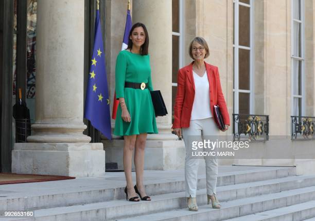 French Culture Minister Francoise Nyssen and French Minister attached to the Minister of Ecological and Inclusive Transition Brune Poirson pose as...