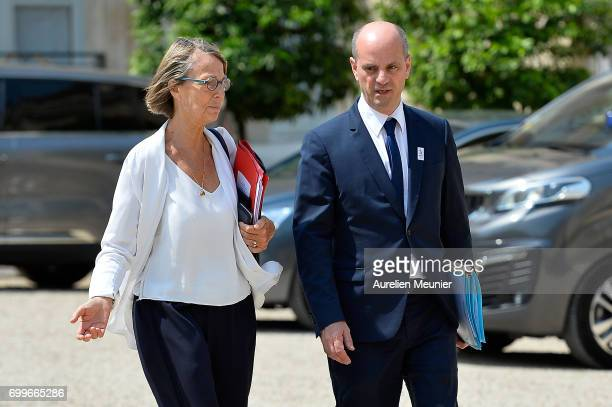 French Culture Minister Francoise Nyssen and French Minister of National Education JeanMichel Blanquer leave the Elysee Palace after the weekly...