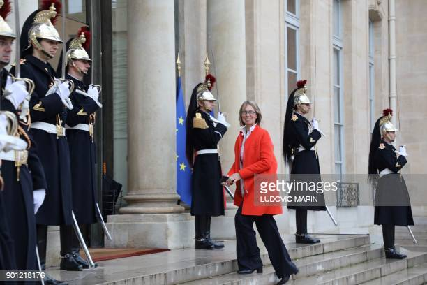 French Culture Minister Francoise Nyssen arrives to attend a New Year wishes ceremony at the Elysee palace in Paris on January 4 2018 / AFP PHOTO /...