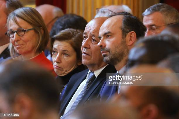 French Culture Minister Francoise Nyssen French Defence Minister Florence Parly le French Foreign Affairs Minister JeanYves Le Drian and French Prime...