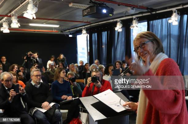 French Culture Minister Francoise Nyssen gestures as she addresses an audience at the inauguration of the Montreuil Youth Book Fair at Montreuil on...