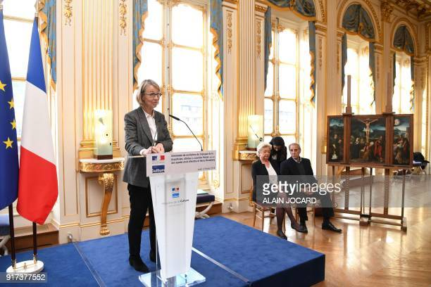 French Culture Minister Francoise Nyssen gives a speech during a ceremony to restituate the Triptych of the Crucifixion painting attributed to...