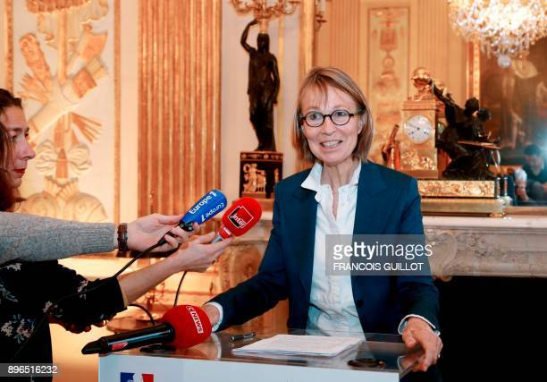 French Culture Minister Francoise Nyssen gives a speech following a meeting with heads of French public service broadcasters on December 21 2017 at...