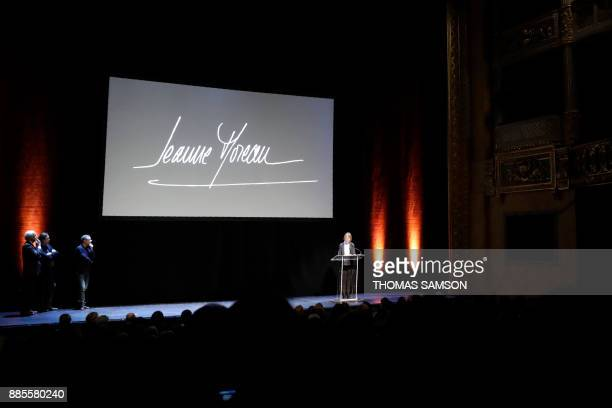 French Culture Minister Francoise Nyssen gives a speech prior to a ceremony in tribute to French actress Jeanne Moreau at the Theatre de l'Odeon in...