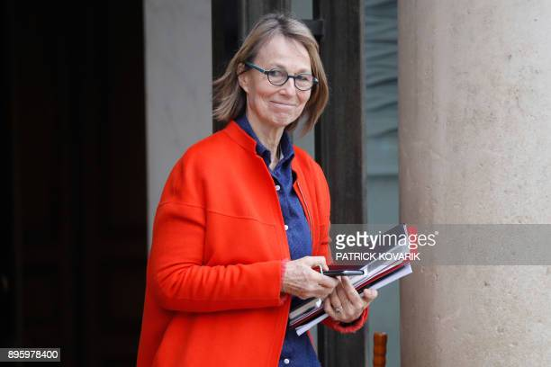 French Culture Minister Francoise Nyssen leaves after a weekly cabinet meeting at the Elysee Palace in Paris on December 20 2017 / AFP PHOTO /...