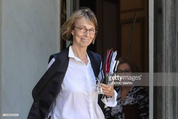 French Culture Minister Francoise Nyssen leaves after a weekly cabinet meeting at the Elysee palace in Paris on June 27 2018