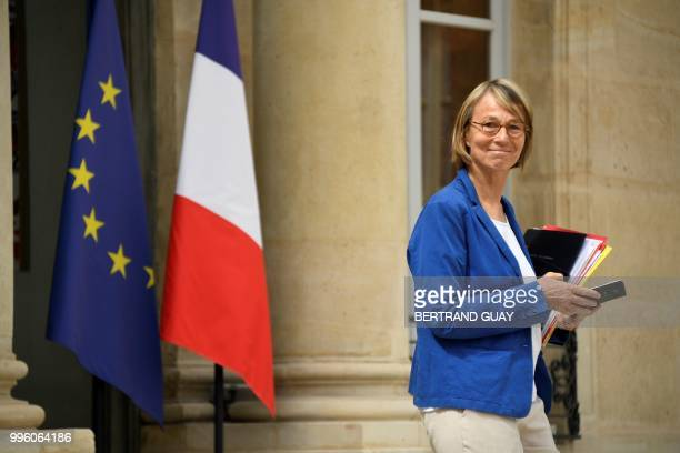 French Culture Minister Francoise Nyssen leaves on July 11 2018 after a weekly cabinet meeting at the Elysee palace in Paris