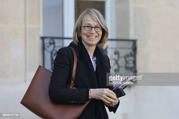 French Culture Minister Francoise Nyssen leaves the Elysee palace following the weekly cabinet meeting on January 17 in Paris / AFP PHOTO / LUDOVIC...