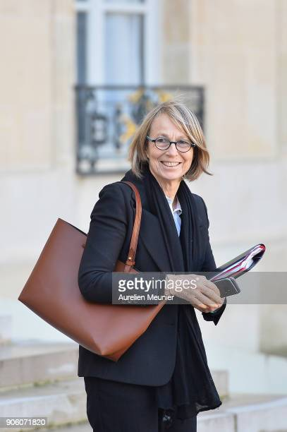 French Culture Minister Francoise Nyssen leaves the Elysee Palace after the weekly cabinet meeting with French President Emmanuel Macron on January...