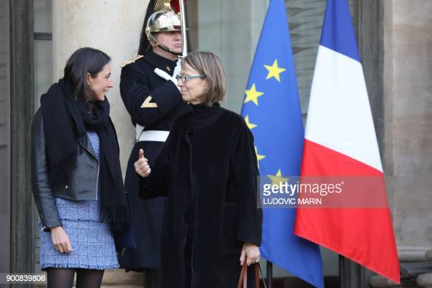 French Culture Minister Francoise Nyssen speaks with French Minister attached to the Minister of Ecological and Inclusive Transition Brune Poirson as...
