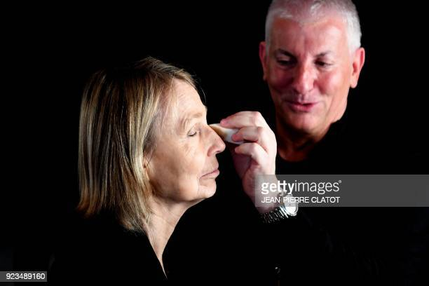 French Culture Minister Françoise Nyssen is made up ahead of the 'Victoire de la musique classique' award ceremony at The Grange au Lac Auditorium in...