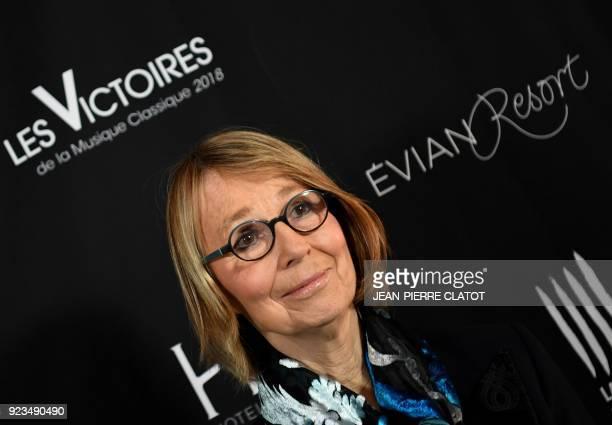 French Culture Minister Françoise Nyssen poses ahead of the 'Victoire de la musique classique' award ceremony at The Grange au Lac Auditorium in...