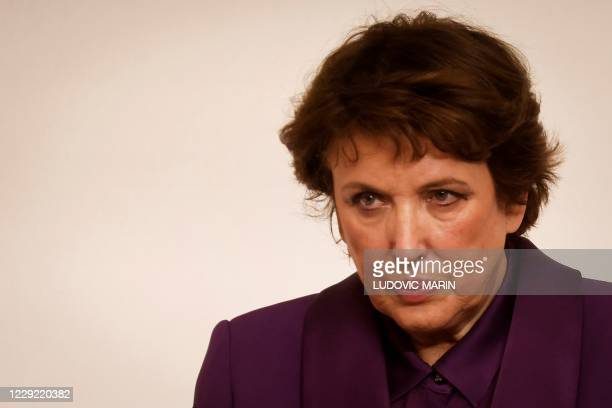 French Culture Minister Roselyne Bachelot reacts during a press conference, at the Hotel Matignon, in Paris, on October 22 announcing the changeover...