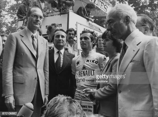 French cyclist Bernard Hinault at the Champs-Élysées in Paris, France, after winning the Tour de France, 23rd July 1979. From left to right, Jacques...