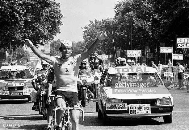 French cyclist Bernard Hinault expresses his joy as he wins the 1979 Tour de France finishing first in the 24th and final stage from Le Perreux to...