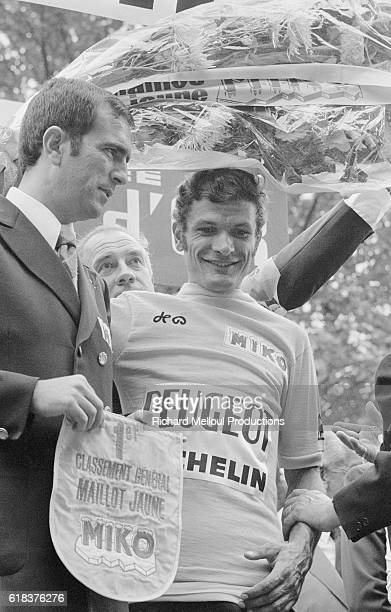 French cyclist Bernard Thevenet of team Peugeot receives the yellow jersey in the 1975 Tour de France He would advance to first in the general...