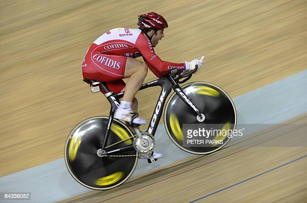 French cyclist Francois Pervis of the Confidis team competes in the mens 1 km TT final during the UCI Track World Cup at Laoshan Velodrome in Beijing...