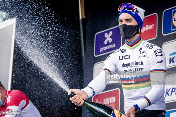 French cyclist Julian Alaphilippe of UCI WorldTeam DeceuninckQuick-Step photographed on the winners podium after placing 1st in the Brabantse Pijl...