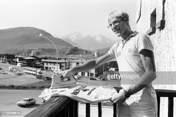 French cyclist Laurent Fignon irons his yellow jersey during the Tour de France cycling road race on July 19 1983 in Alpe d'Huez Fignon reveals on...