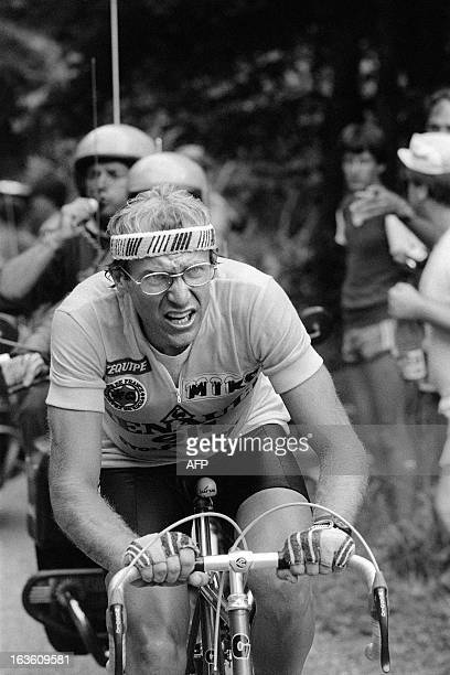 French cyclist Laurent Fignon rides uphill during the 18th stage of the Tour de France on July 20 between Bourg d'Oisons and Morzine. Fignon reveals,...