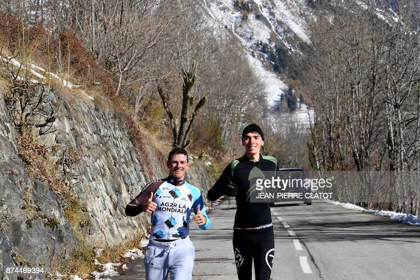 French cyclist Romain Bardet and Swiss cyclist Mathias Frank from the AG2R team run in Vaujany on November 15 2017 as part of a preparation training...