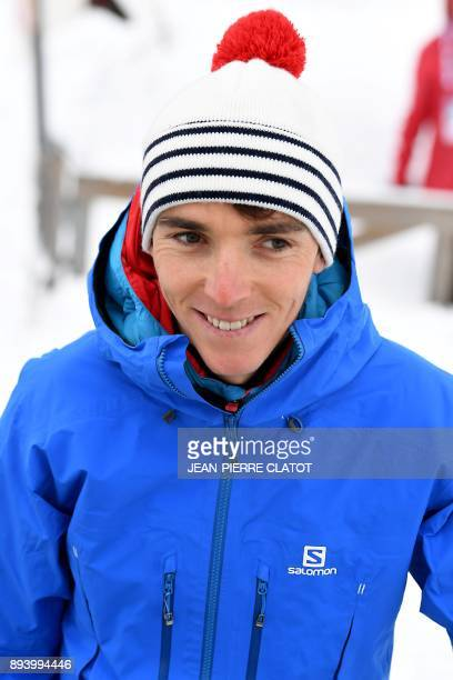 French cyclist Romain Bardet arrives to perform an exhibition as part of the IBU Biathlon World Cup in Le Grand Bornand on December 17 2017 / AFP...