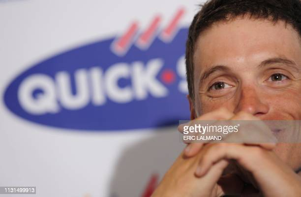 French cyclist Sylvain Chavanel of Quick Step Innergetic talks during a press conference ahead of this year's ParisRoubaix cycling race in Kortrijk...
