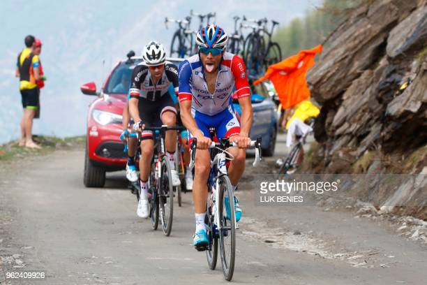 TOPSHOT French cyclist Thibaut Pinot rides on the Colle delle Finestre during the 19th stage from Venaria Reale to Bardonecchia during the 101st Giro...