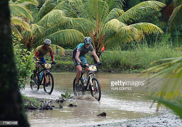 French cyclist Thomas Dietsch bronze medalist in the Mountainbike World Championship in Verviers Belgium and Costa Rican Federico Ramirez arrive 17...
