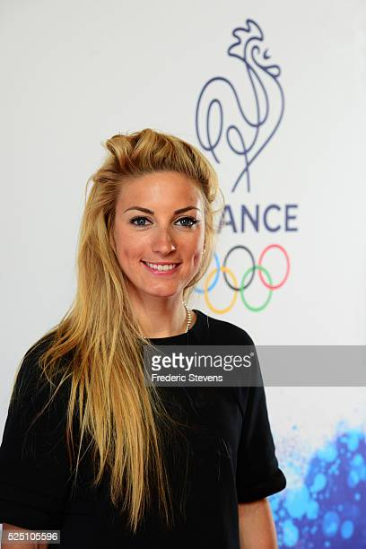 French cyclist woman Pauline Ferrand Prevot poses during the French Olympic team's launch of their 100day countdown to the opening of the 2016 Rio...