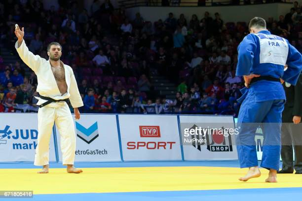 French Cyrille Maret fights with Elkhan Mammadov from Azerbaijan during men under 100kg competition during the European Judo Championship in Warsaw...