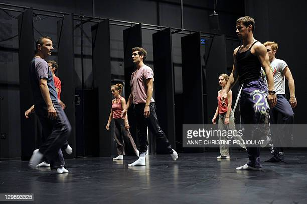 French dancer and chorographer Michel Kelemenis trains with dancers of the Geneva's Great Theatre on October 21 2011 at the Maison pour la danse Klap...