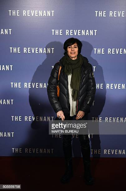 French dancer MarieClaude Pietragalla poses as she arrives for the premiere of the film The Revenant in Paris on January 18 2016 / AFP / MARTIN BUREAU