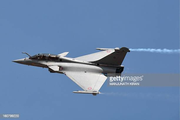 A French Dassault Rafale fighter performs during Aero India 2013 at the Yelahanka Air Force station in Bangalore on February 6 2013 India the world's...