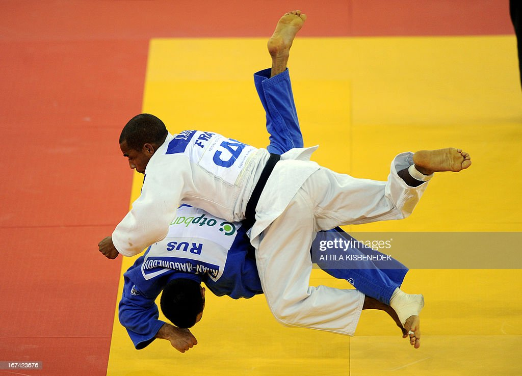 French David Larose (white) fights with Russian Kamal Khan-Magomedov (blue) during their fighting of the Judo European Championships in 66kg category for men in Budapest.