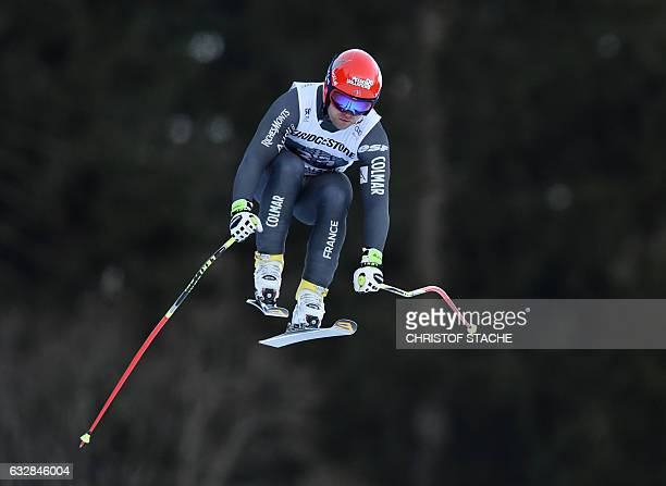 French David Poisson jumps during the men downhill race the canceled competition of Wengen at the FIS Alpine Skiing World Cup in...