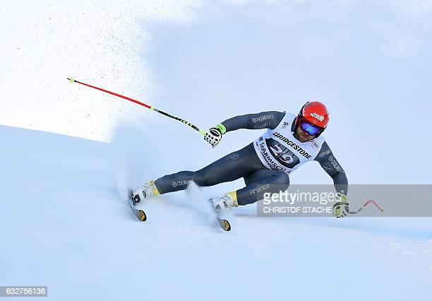 French David Poisson races during the men downhill training at the FIS Alpine Skiing World Cup in GarmischPartenkirchen southern Germany on January...