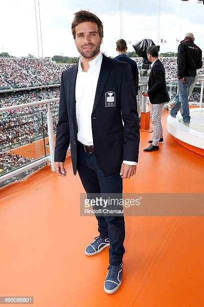 French Davis Cup captain Arnaud Clement pose at France Television french chanels studio whyle the Roland Garros French Tennis Open 2014 Day 8 on June...