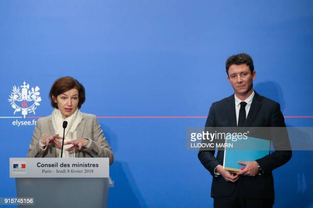 French Defence Minister Florence Parly and French Government's Spokesperson Benjamin Griveaux brief the media following the weekly Cabinet meeting on...