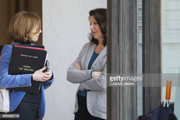 French Defence Minister Florence Parly and French Minister for Solidarity and Health Agnes Buzyn talk as they leave after the weekly Cabinet meeting...
