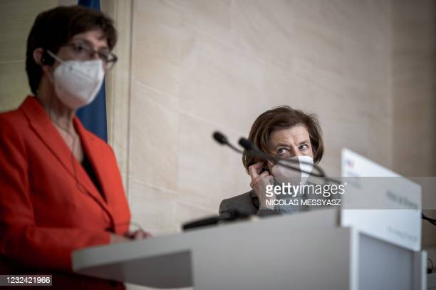 French Defence Minister Florence Parly and German Defence Minister Annegret Kramp-Karrenbauer hold a press conference following their meeting at the...