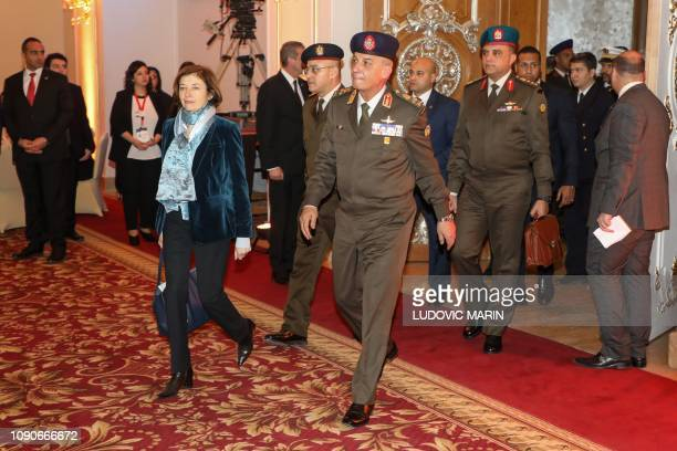 French Defence Minister Florence Parly and her Egyptian counterpart Mohamed Ahmed Zaki arrive to take part in an official diner at Al Massah hotel in...