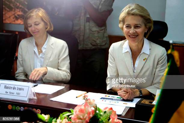 French Defence Minister Florence Parly and her German counterpart Ursula von der Leyen attend a meeting with the Malian president in Bamako on August...