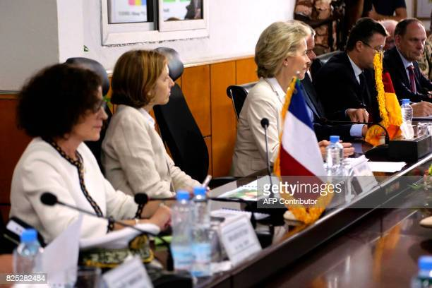 French Defence Minister Florence Parly and her German counterpart Ursula von der Leyen attend a meeting at the Malian Defence Ministry in Bamako on...