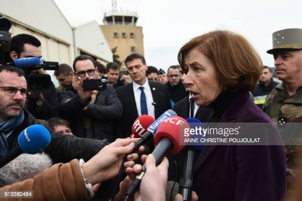 French Defence Minister Florence Parly arrives at the French army's EALAT lightaircraft training school in CannetdesMaures on February 2 after two...