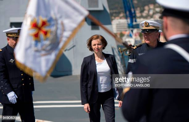 French Defence Minister Florence Parly arrives onboard the FREMM 'Languedoc' in Toulon southern France on April 20 one week after United States...